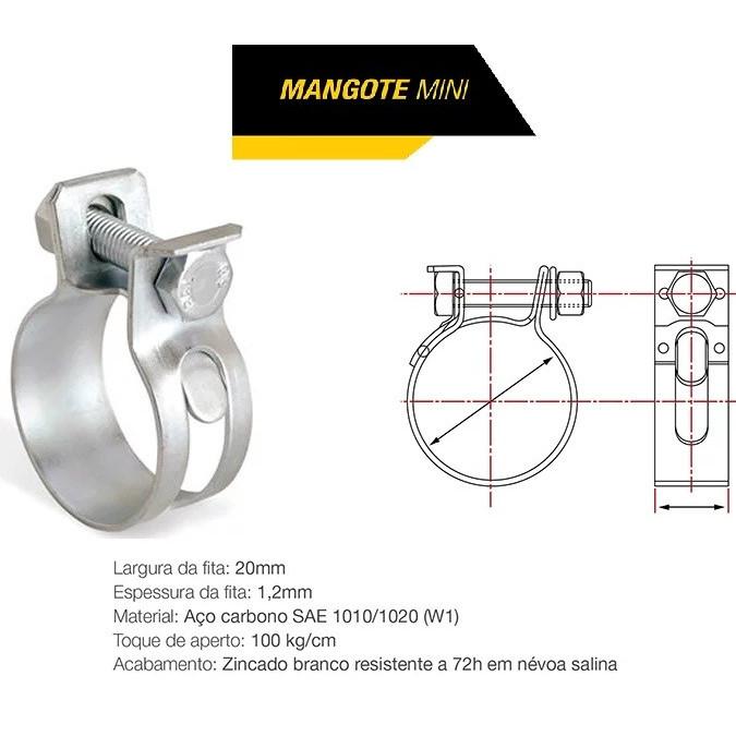 Abraçadeira Mangote 105x117 20mm Carbono