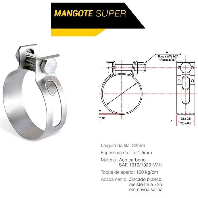 Abraçadeira Mangote 92x100 (32mm) Carbono
